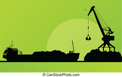 puerto, carga, carbón, vector, nave de la carga, grúa