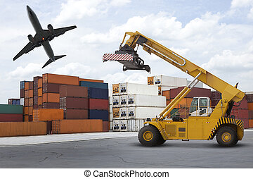 puerto, industria, pila, o, logístico