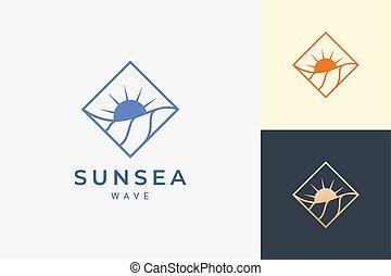 puerto, rombo, simple, onda, logotipo, océano del agua, sol, o, forma