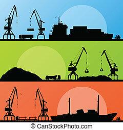 puerto, transporte industrial, barcos, vector, costa, grúa, paisaje