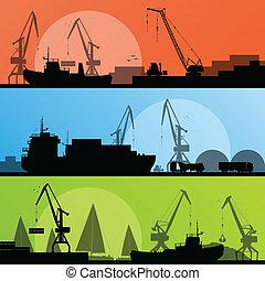 puerto, transporte industrial, ilustración, barcos, vector, costa, colección, plano de fondo, silueta, grúa, paisaje