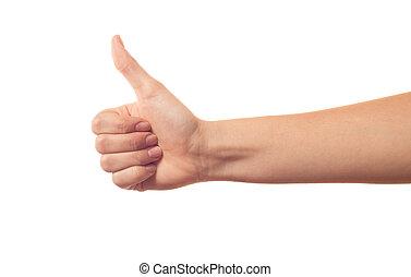 Pulgar arriba de la mano en el fondo blanco