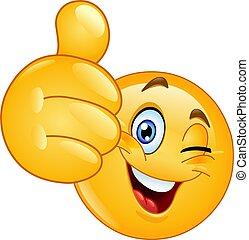 Pulgar arriba guiñando emoticono
