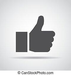 Pulgar arriba icono con sombra en un fondo gris. Ilustración de vectores