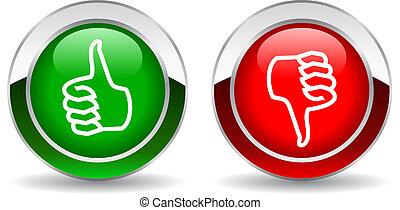 Pulgar arriba y abajo botón