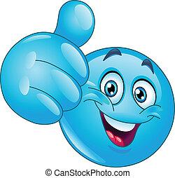 Pulgar azul emoticono
