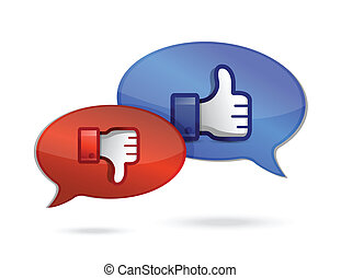pulgar, charlar, y, comunicación, arriba, abajo, thump, o