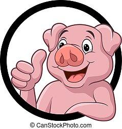 pulgar up, dar, lindo, cerdo, caricatura