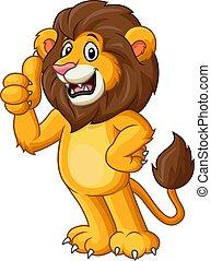 pulgar up, dar, lindo, león, caricatura