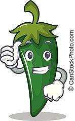 Pulgares arriba chile verde dibujos animados