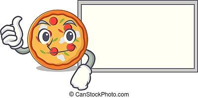 Pulgares arriba con el estilo de dibujos animados del personaje de la pizza