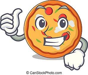 Pulgares arriba estilo de dibujos animados de personajes de pizza