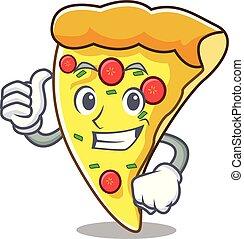 Pulgares arriba pizza rebanando dibujos de personajes