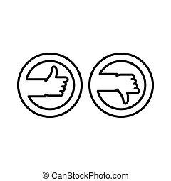 Pulgares arriba y abajo botones iconos, estilo de esquema