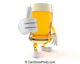 pulgares, cerveza, carácter, arriba, gesto