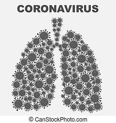 pulmones, blanco, bacteria, plano de fondo, coronavirus
