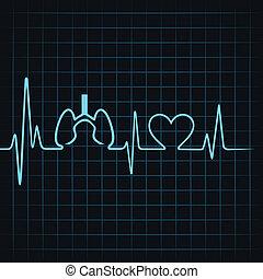 pulmones, corazón, marca, latido del corazón