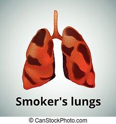 Pulmones enfermos humanos realistas aislados en el fondo blanco.