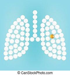 Pulmones humanos con pastillas aisladas en una ilustración de vectores realistas de fondo.
