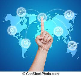 Pulsa el botón deportivo de badminton en una interfaz de pantalla