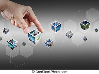 Pulsar botones virtuales y 3d imágenes