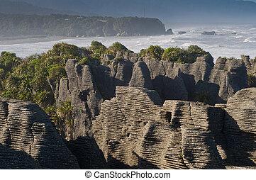 Punakaiki panqueques rock, nuevo Zealand