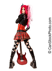Punk girl with electro guitar