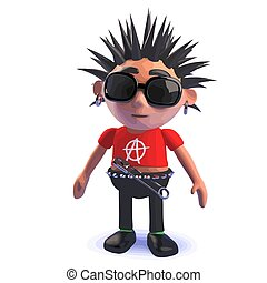 Punk rocker personaje de dibujos animados 3D parado pensativamente