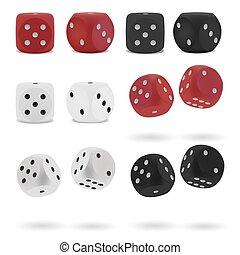 punteado, dados, aislado, conjunto, tabla, realista, juego