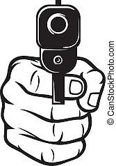 puntiagudo, arma de fuego de mano, (pistol)