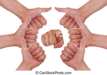 punto, arriba, pulgares, manos, elaboración, círculo, usted, dedo