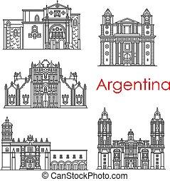 Puntos argentinos de arquitectura vector de iconos de línea