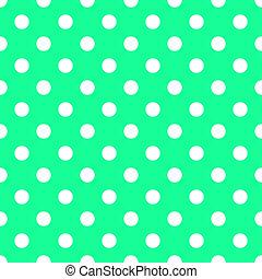 Puntos blancos en verde mar brillante