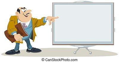 puntos, caricatura, hombre de negocios, finger., feliz