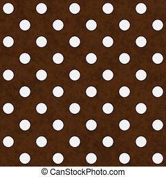 Puntos de polka blanco sobre el fondo texturado de tejido marrón