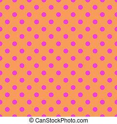Puntos de polka rosa en el fondo naranja