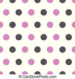 Puntos de polka rosa y grises sobre fondo blanco