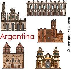Puntos de referencia Argentina vector de iconos de línea de arquitectura