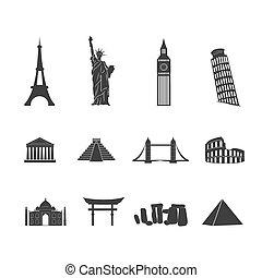 Puntos de referencia mundiales de íconos blancos y negros