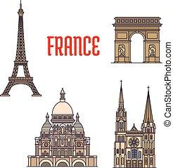 Puntos de viaje arquitectónicos de ícono de Francia