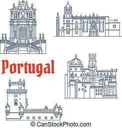 Puntos de viaje arquitectónicos del icono de Portugal