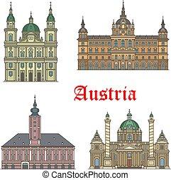 Puntos de viaje austríacos de icono de arquitectura