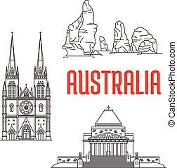 Puntos de viaje australianos de ícono lineal