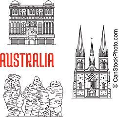 Puntos de viaje australianos, estilo línea delgada
