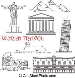 Puntos de viaje de Italia, Brasil, Grecia, África