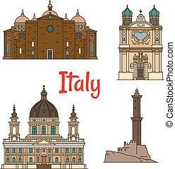 Puntos de viaje de Italia, iconos de delgada línea