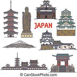 Puntos de viaje de Japón colorida línea icono