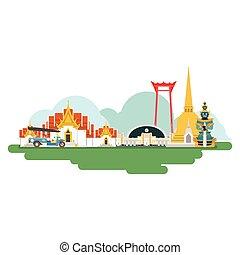 Puntos de viaje de Tailandia. Vector e ilustración