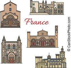 Puntos de viaje franceses, vector de línea delgada
