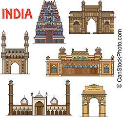 Puntos de viaje indios, icono de línea delgada